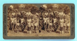 PHOTO AFRICA STEREO- UNDERWOOD  & Amp; UNDERWOOD - Ceremony In Honor Of A Youth Who Has Killed à Lion-East Africa - Stereoscopio