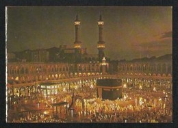 Saudi Arabia Picture Postcard Holy Mosque Ka'aba Mecca Night Scene View Card - Arabie Saoudite