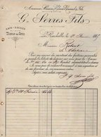 VP12.420 - Facture - Sacs - Bâches- Tissus En Gros G. SERRES Fils à LA ROCHELLE - France