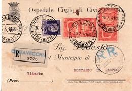 R281 - Cartolina Raccomandata RR Del 1941 Da Civitavecchia A Montalto Di Castro Con Cent. 50 + 20+ 20 - Poststempel