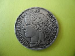 FRANCE ECU 5 FRANCS CERES 1870 A Sans Légende - 3° République @ Argent 25 Gr. à 90 % - 2 Photos - F. 332 - J. 5 Francos