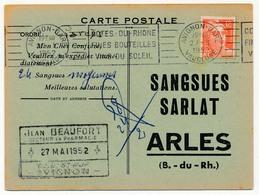 CP Bon De Commande SANGSUES SARLAT / ARLES (B Du R) Affr 12F Gandon - OMEC Avignon Gare 27/5/1952 - Storia Postale