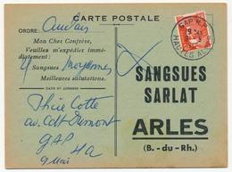 CP Bon De Commande SANGSUES SARLAT / ARLES (B Du R) Affr 12F Gandon - Oblit Avignon RP 9/05/1952 - Storia Postale