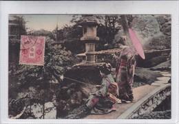 GEISHA 芸者 FEMMES WOMEN MUJERES TYPICAL KIMONO FISHING PARASOL PAYSAGE. OBLITERE. CIRCA 1900's JAPAN- BLEUP - Kostums