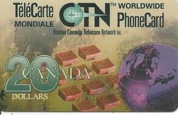 CARTE-µ-PREPAYEE-CTN WORLDWIDE-20$-1996-GRATTE-TBE- - Canada