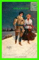 SPORTS D'HIVER - LA GLISSE EN TRAÎNE SAUVAGE - COUPLE - ALFRED BELL EN 1907 - CIRCULÉE -  VALENTINE & SON'S PUB - - Sports D'hiver