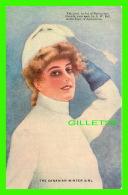 SPORTS D'HIVER - LA GLISSE EN TRAÎNE SAUVAGE - FEMME - ALFRED W BELL EN 1908 - CIRCULÉE -  VALENTINE & SON'S PUB - - Sports D'hiver
