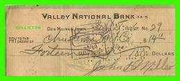 CHÈQUES - DES MOINES, IOWA - VALLEY NATIONAL BANK IN 1926 - - Assegni & Assegni Di Viaggio