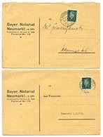 Germany 1932 2 Covers Neumarkt - Bayer. Notariat Neumarkt I. D. OPf., Scott 370 - Germany