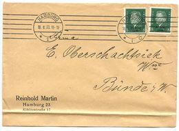Germany 1930 Cover Hamburg To Bünde, Scott 385 8pf. Ebert X 2 - Germany