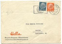Germany 1938 Cover Berlin To Aachen, Slogan Cancel - Briefe U. Dokumente