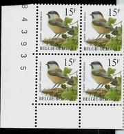 Bloc De 4 Du N°  2695 (P8a - GJ)  Mésange Boréale  -   Matkop    (**) - 1985-.. Vögel (Buzin)