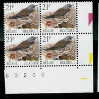 Bloc De 4 Du N°  2792 (P5b - GJ)  Grive Litorne  -  Kramsvogel   (**) - 1985-.. Vögel (Buzin)