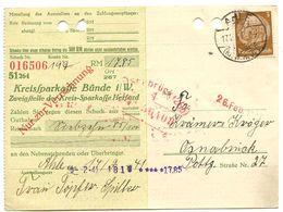 Germany 1941 Ahle - Kreissparkasse Bünde I-W., 3pf. Hindenburg Stamp - Germany