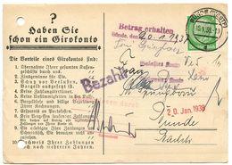 Germany 1938 Bünde, Giroverkehr Des Deutschen Sparkassen Und Giroverbandes, Spargiro - Germany