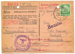 Germany 1938 Postcard Bünde, Spargiro Bank Receipt, Nationalsoz. Deutsche Arbeiterpartei - Germany