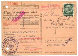 Germany 1938 Postcard Bünde, Spargiro Bank Receipt, Die Deutsche Arbeitsfront - Germany