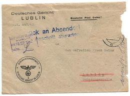 Poland - German Occupation 1942 Official Cover Lublin - Deutsches Gericht (German Court) - 1939-44: World War Two