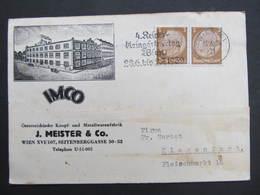 BRIEF Wien XVI J.Meister IMCO Seitenberggasse 1939 Werbung ////  D*32638 - 1918-1945 1. Republik
