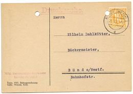 Germany - A.M.G. 1946 Postcard Bünde - Allg. Innungskrankenkasse Bünde, Scott 3N5 - Amerikaanse, Britse-en Russische Zone