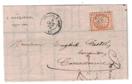 1865 - RARE OBLITERATION PC Du GC 3981 TOULON Sur MER NAPOLEON 40c ORANGE N° 23 LETTRE Pour CARCASSONNE ENTETE ROUQUEROL - 1849-1876: Période Classique