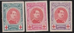 Belgie    .     OBP  .     132/134      .    *      .      Ongebruikt Met Charnier   .   /   .  Neuf  Avec  Charniere - 1914-1915 Croix-Rouge