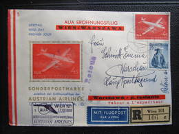 BRIEF AUA Wien - Warszawa 1958 ////  D*32645 - AUA-Erstflüge
