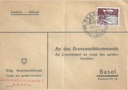 """Officiel Brief  """"Eidg.Grenzwachtkorps""""  Nesslau - Basel               1952 - Switzerland"""