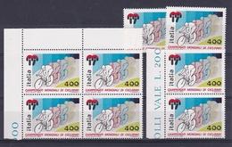 1985 Italia Italy Repubblica CICLISMO  CYCLING 8 Serie In Quartina + 4 MNH** - Ciclismo