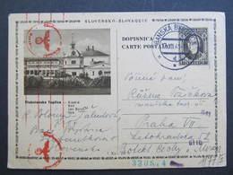 "GANZSACHE Banska Bystrica - Praha Zensur ""Stubnianske Teplice"" 1941 ////  D*32666 - Slovaquie"