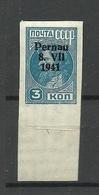 ESTLAND Estonia 1941 Michel 3 B O Pernau Pärnu * Nice Margin - Estland