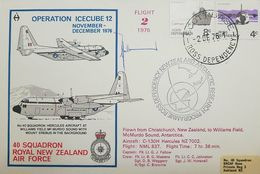 L) 1976 ROSS DEPENDENCY, ANTARCTIC, BOAT, SUMMER SUPPORT, 8C, WILLIAMS FIELD, 4C, AIRPLANE, FLIGHT 2, OPERATION ICECUBE - FDC