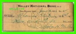 CHÈQUES - VALLEY NATIONAL BANK, DES MOINES, IOWA, 1926 - THOMAS ELECTRIC CO - - Assegni & Assegni Di Viaggio
