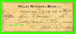CHÈQUES - VALLEY NATIONAL BANK, DES MOINES, IOWA, 1926 -  No 55 - - Assegni & Assegni Di Viaggio