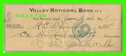 CHÈQUES - VALLEY NATIONAL BANK, DES MOINES, IOWA, 1926 -  R. E. DAVIES - - Assegni & Assegni Di Viaggio