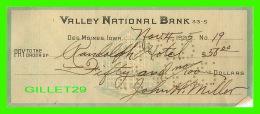 CHÈQUES - VALLEY NATIONAL BANK, DES MOINES, IOWA, 1925 -  No 19 - RANDOLPH HOTEL  CO - - Assegni & Assegni Di Viaggio