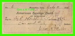 CHÈQUES - AMERICAN SAVINGS BANK, MUSCATINE, IOWA - IN 1925 No 6 - - Assegni & Assegni Di Viaggio