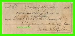 CHÈQUES - AMERICAN SAVINGS BANK, MUSCATINE, IOWA - IN 1925 - No 5 - - Assegni & Assegni Di Viaggio