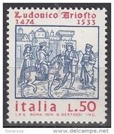 Italia 1974 Blf. 1366 Lodovico Ariosto (1474-1533) - Illustrazioni Orlando Furioso XIV Secolo Nuovo MNH - Scrittori