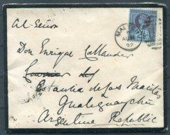 1892 GB QV Jubilee Mourning Cover Malton - Gualeguaychu Argentina - Storia Postale