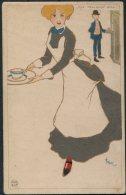 Popini 'The Tea-shop Girl' Femmes Art Postcard - Illustrators & Photographers
