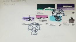 L) 1977 ROSS DEPENDENCY, 20TH ANNIVERSARY OF SCOTT BASE, WILLIAMS FIELD, AIRPLANE, 4C, SHACKLETON'S HUT, 5C, SKUA, 3C - FDC