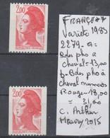 TIMBRE DE FRANCE NEUF** LUXE  VARIETE Nr 2279 A = Bdes Pho A CHEVAL + B Bdes Pho A CHVAL Nr ROUGE AU VERSO  44 € - Variétés Et Curiosités