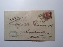 Regno D' Italia GENOVA 1871 Sa. 20 Cover > AMSTERDAM NETHERLANDS (lettera Lettre Italy Nederland Brief - Marcophilia