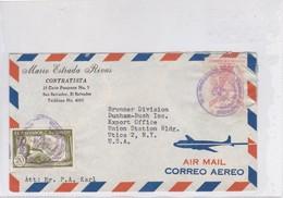 AIRMAIL. MARIO ESTRADA RIVAS, CONTRATISTA. CIRC EL SALVADOR TO USA 1957.- BLEUP - El Salvador