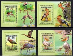 BURUNDI, 2015, MNH, BIRDS, MIGRATORY BIRDS, PELECANS, STORKS, FLAMINGOS,  4 DELUXE S/SHEETS , OFFICIAL ISSUE - Flamingo
