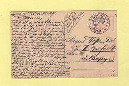 Sanitats Feldpost - Komp V4 - 1917 - Sur Carte Postale De Koppigen - Covers & Documents