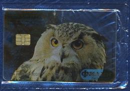 RUSSIA - RUSSIE - RUSSLAND EKATERINBURG URALSVYAZINFORM 100 UNITS CHIP PHONECARD TRANSPARENT OWL BUBO BUBO MINT SEALED - Rusia