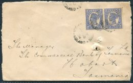 1904 Queensland 2d X 2 Double Rate Australian Joint Stock Bank Cover - The Commercial Bank Of Tasmania, Hobart. TPO Rail - Briefe U. Dokumente