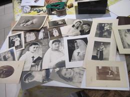 Anciennes Photos De Communion, Mariage, Soldat, Petite Fille, Bébé, (Colombier) (Fontaine) (Charles) Rouen  T.B.E. - Anonymous Persons